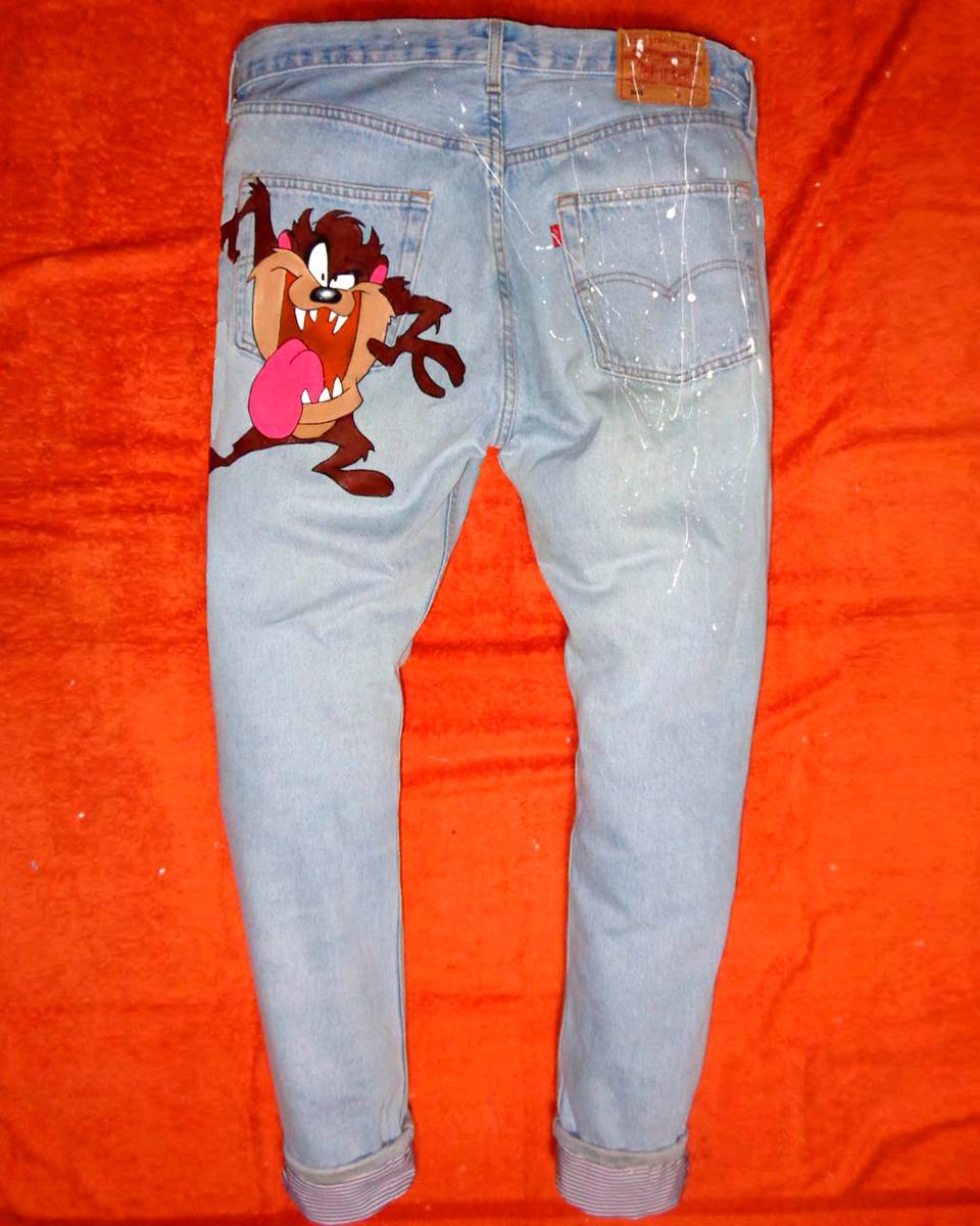 Jeans Levi's Vintage Customizzato e Dipinto a Mano – TAZ Never Say Never