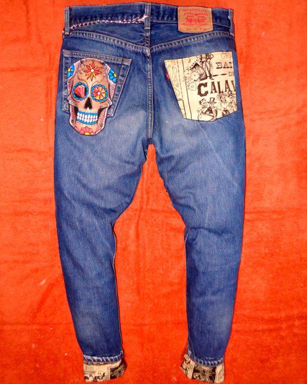 Jeans Levi's Vintage Customizzato e Dipinto a Mano – TAZ