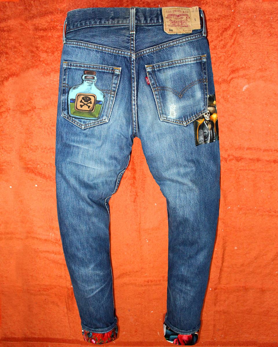 Jeans Levi's Vintage Customizzato e Dipinto a Mano –POISON +