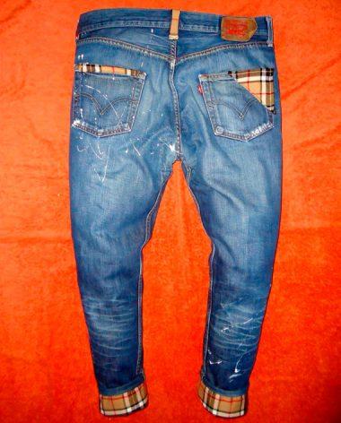 San Francisco 096b8 65d79 Jeans Levi's Vintage Customizzato a Mano – tema Burberry Beige