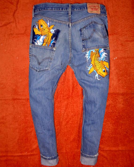 Jeans dipinti a mano e cuciti su misura archivi pagina 2 for Carpa giapponese prezzo