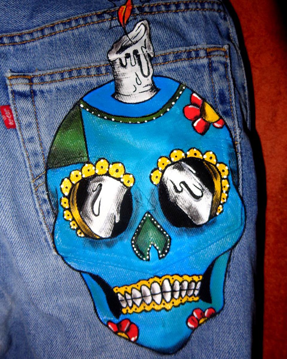 Jeans Levi's Vintage Customizzato e Dipinto a Mano –TESCHIO