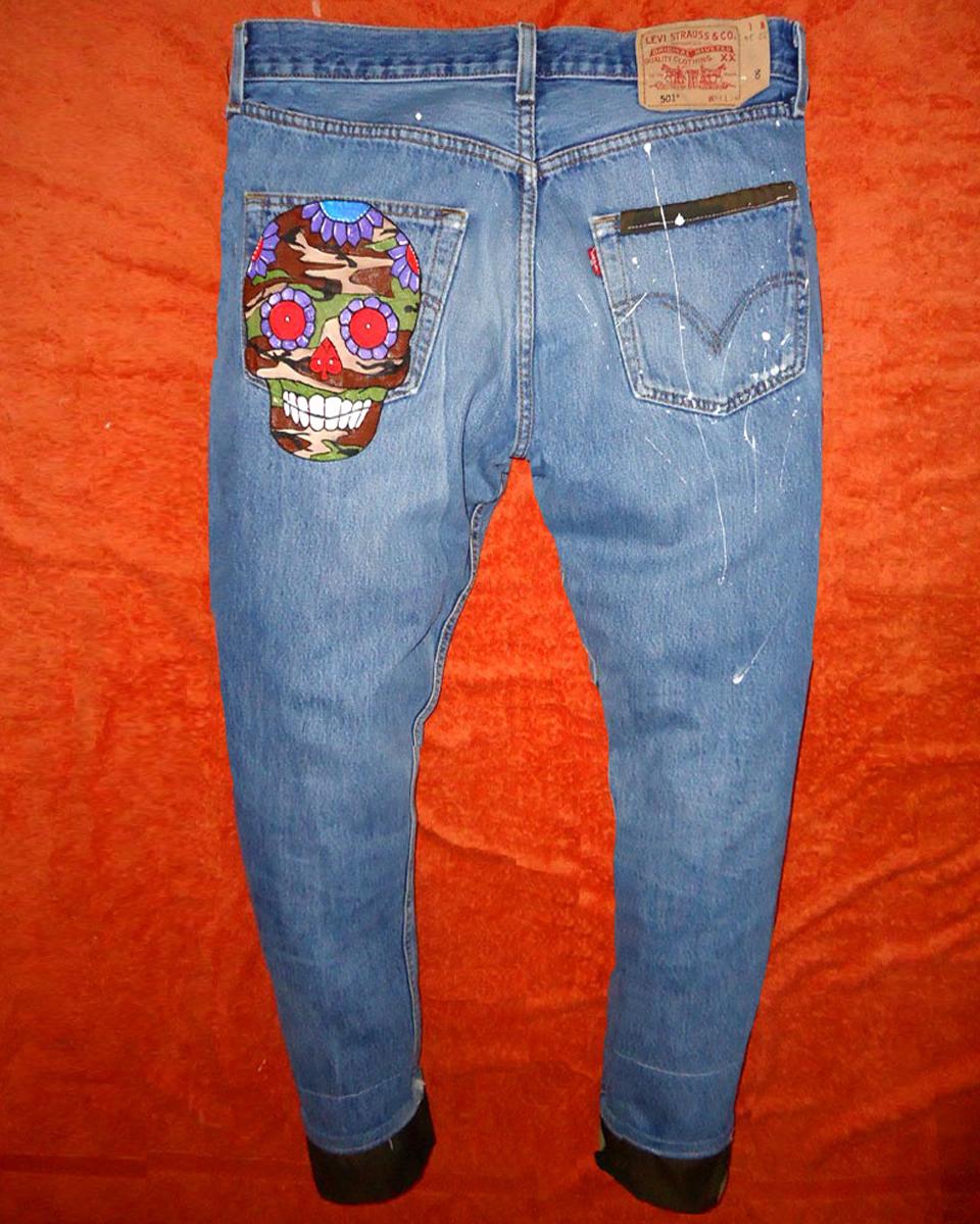 Jeans Levi's Vintage Customizzato e Dipinto a Mano –TESCHIO militare 2 Never Say Never