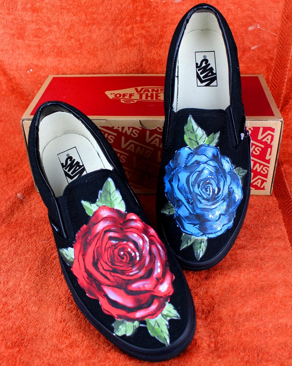 vans scarpe con la rosa rossa