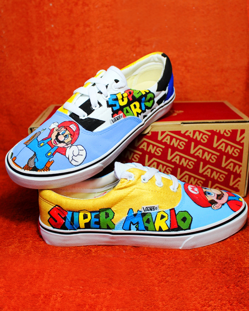 Vans Super Era Mario Bros Personalizzate Scarpe rBrHqZw